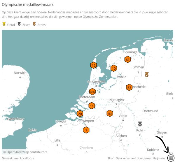 Kaart met Olympische medailles behaald door Nederlanders